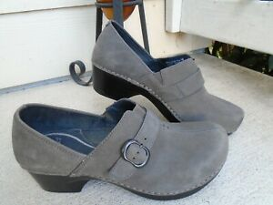 Womens Dansko gray suede womens occupational clogs shoes sz 39