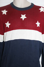 Patriotic Red White Blue Stars Lightweight Sweater Mens Size L NWT