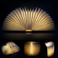Creativo Luz De Noche Libro USB Recargable Luces LED Plegable De Madera Magnétic