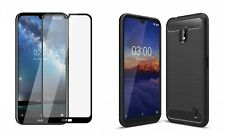 Nokia 2.2 Carbon Case + 21D Tempered Glass Screen Protector Cover