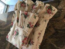 PRETTY RALPH LAUREN TWIN SHEET SET 3 PC~MARSIELLES BEIGE STRIPE ROSES~
