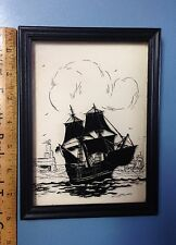 "Vintage Reverse Painted Silhouette ""The Mayflower"" Nelson Osborne Greenville, Sc"
