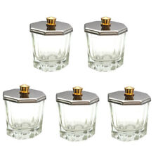 5pcs Beauticom Octagon Shaped Glass Dappen Dish with Stainless Steel Metal Lid