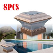 Us 8X Garden Solar Led Lights Post Deck Cap Square Fence Lighting Landscape Lamp