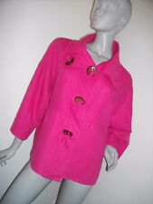 * SARAH SANTOS * CERISE PINK 100% LINEN UNUSUAL QUIRKY JACKET SIZE MED  RRP £35