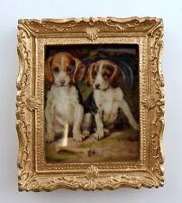 Maison de poupées miniature 1:12 accessoire beagle chiots IMAGE peinture doré