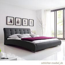 CELINE Polsterbett Kunstlederbett Bett Designerbett Futonbett 200x200 - Schwarz