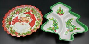 2 Vintage Christmas Plastic Snack Candy Cookie Serving Tray - Tree & Round Santa