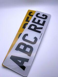 "NUMBER PLATES 16"" PAIR OF SHORT FRONT & REAR MOT ROAD LEGAL CAR REG REGISTRATION"