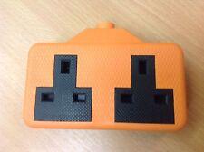 Trailing Socket 2 Gang Impact Resistant 13Amp Orange Extension Lead Socket