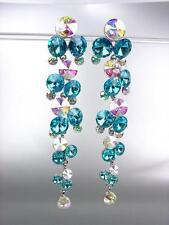 STUNNING Aqua Blue Iridescent Czech Crystals WATERFALL Long Dangle Earrings