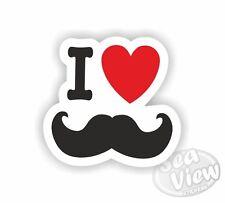 I Heart Love Moustache Guidon Voiture Van Autocollants Decal Autocollant Drôle