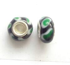 10 Black/Green Lampwork Glass Beads 14x9mm Hole 5mm For European Charm Bracelet
