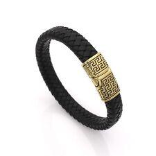 Mens Stainless Steel Braided Black Leather Bangle Magnetic Bracelet + Box #BR251