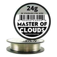 SS 316L - 50 ft. 24 Gauge AWG Stainless Steel Resistance Wire 0.51 mm 24g 50'