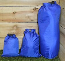 3 x BLUE DRY SACK CAMPING FESTIVAL FISHING WATER PROOF STORAGE BAGS TENT TRAVEL