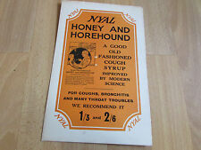 NYAL Honey & Horehound COUGH Syrup Original c 1920's Advertising Showcard