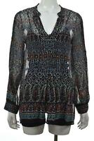 Joie Womens Top Size S Ivory Black Red Paisley Blouse Long Sleeve Silk