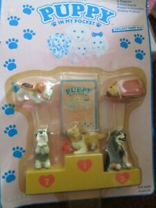 Vintage/Collectable Puppy In My Pocket with yellow podium inc 5 dogs sealed