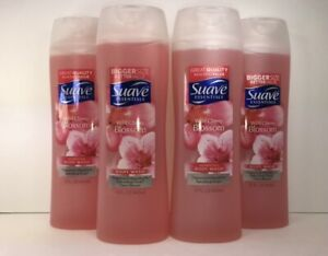 4  Suave Essentials Body Wash, Wild Cherry Blossom Scent, 15 oz Each