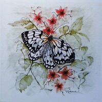 Art Greeting Card Butterfly Flower Watercolor Picture Nature Garden Painting