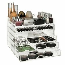 CLEAR ACRYLIC 6 TIER COSMETIC MAKEUP ORGANISER BOX CASE DRAWERS WITH LID
