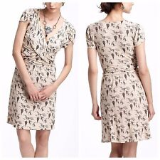 LEIFNOTES Anthropologie up and away mini dress hot air balloon print beige S