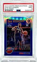 2019-20 NBA Hoops Premium Stock Zion Williamson RC Tribute Blue Prizm PSA 9 SP