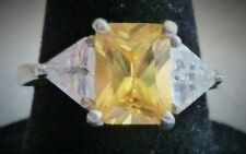 Sterling 925 Yellow Emerald Cut with Clear Triangle Trillion Cut CZ Size 6 Ring