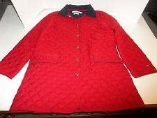 Womens Size M Tommy Hilfiger Red Quilted Barn Chore Coat Cordoroy Collar