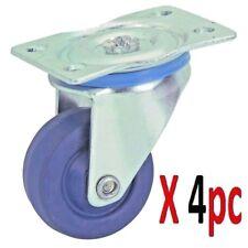 1-5/8 in. Wheel Rubber Light Duty Swivel Caster  Steel Plate Set of 4 Pc