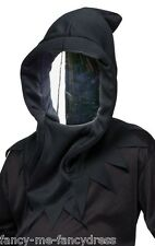Mens Black Mirrored Death Ninja Mask Halloween Fancy Dress Costume Accessory