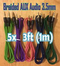 5x Pcs LOT 3.5mm 3ft BRAIDED 1M New AUXILIARY Male Audio Cable AUX Bundle Cords