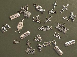 25 Silver Religious Charm Mix