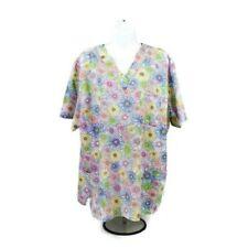Sb Scrubs Multicolor Floral Print Short Sleeve Scrub Top Womens 2Xl V-Neckline