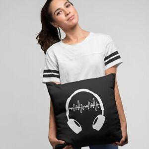 Headphones Cushion Cover   Home Warming Gift   Bedroom   Homeware   DJ Gift