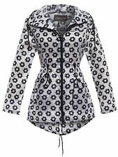 Womens Lightweight Hooded Zip Daisy Floral Rain Coat Jacket Kagool Plus Size Black/white Small
