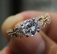 2.00 Ct Round Cut Diamond Marquise Accents Engagement Ring G,VS2 GIA 18K