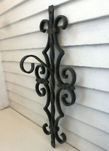 Antique 1800's Victorian Gothic Wrought & Cast Iron Ornate Lantern Hook Outdoors