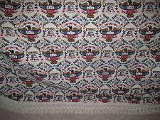Vintage Patriotic Red White Blue Eagle Flag Bell 90x120 Woven Blanket Bedspread