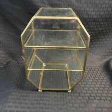 VINTAGE BRASS & GLASS SMALL CURIO CABINET DISPLAY SHELF with door