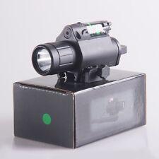 Tactical LED Flashlight & Green Laser Sight Combo Pressure Switch Fr Weaver Rail