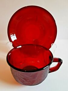 VINTAGE CRANBERRY GLASS TEA CUP & SAUCER SETS - 6 AVAILABLE - PERFECT CONDITION