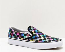 NEW Womens Vans Classic Slip On Iridescent White Black Checkerboard Skate Shoes
