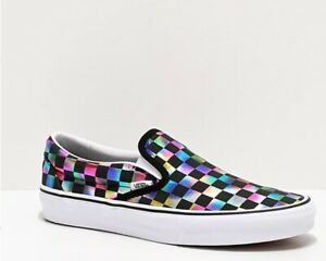 NEW Womens Vans Classic Slip On Iridescent Checkerboard Skate Shoes, Sz. 6.5