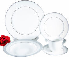 Flato 20 pc Bone China Silver Platinum Border Crenelle Dinner Set, Service for 4