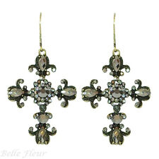 Winter Cross Leverback Earrings ~Shimmering Icy Shades~