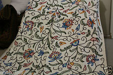 WOOL  KASHMIR CREWEL HAND EMBROIDERY HOMES CURTAINS WINDOW FABRIC PANEL DOOR NEW