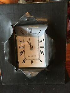 SILVESTRI CLOCK  PEWTER  METAL  QUARTZ CLOCK   EASEL  BATTERY