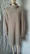 Deerberg Oska 100% wool knitted taupe and cream patterned dress size XL